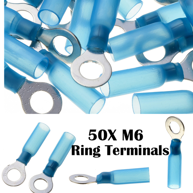 50pcs Ring M6 Insulated Terminal Sleeve Electrical Wire Cable ...