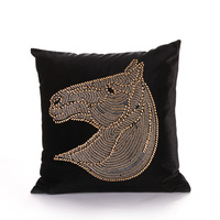 Luxury Fashion Gold Silver Green Horse Velvet Cushion Cover Pillow Cover Pillowcase Home Decorative Sofa Chair Seat Throw Pillow