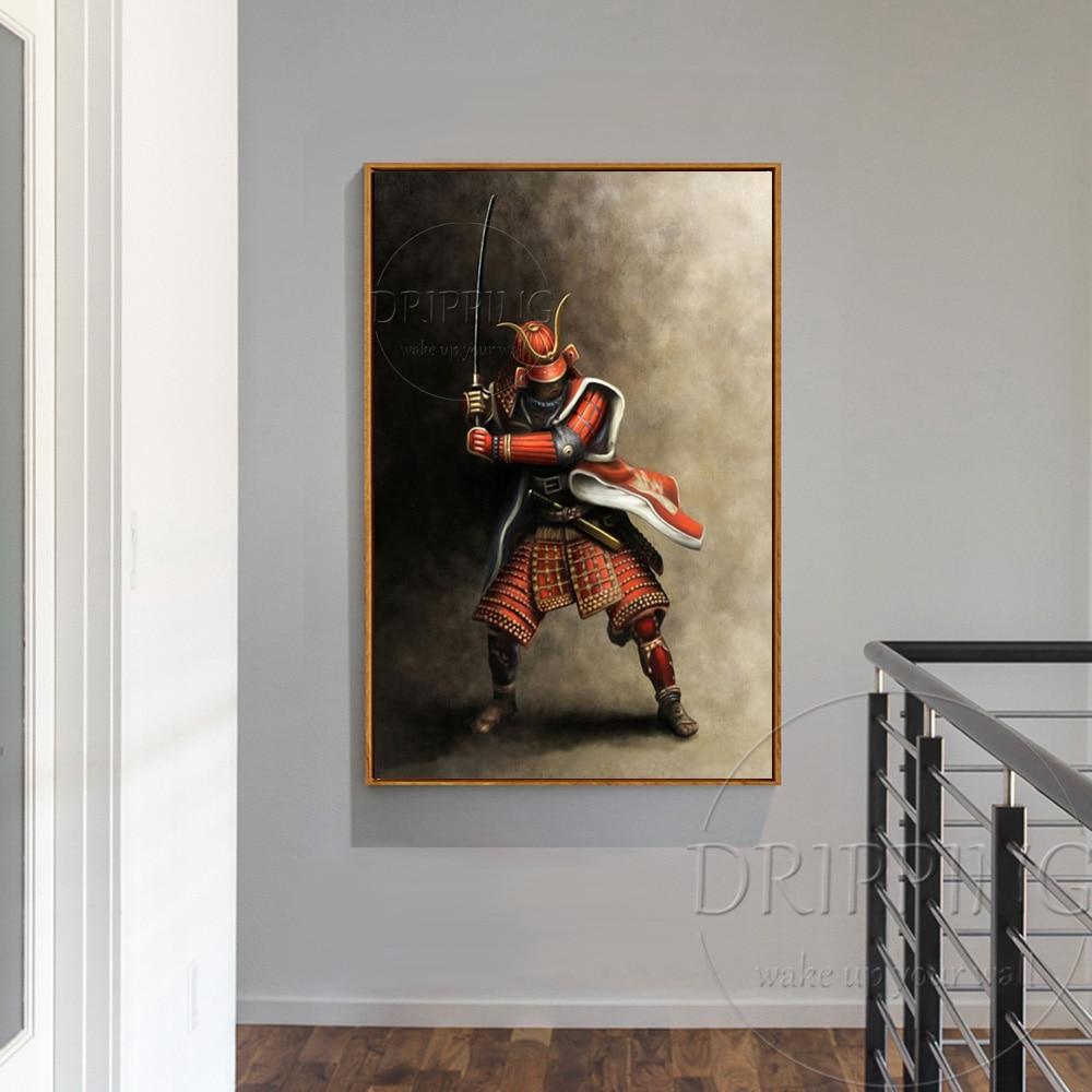 Top Kunstenaar Handgemaakte Hoge Kwaliteit Japanse Samurai Olieverfschilderij Handgemaakte Impressionistische Japanse Samurai Olieverf-in Schilderij & Schoonschrift van Huis & Tuin op  Groep 3