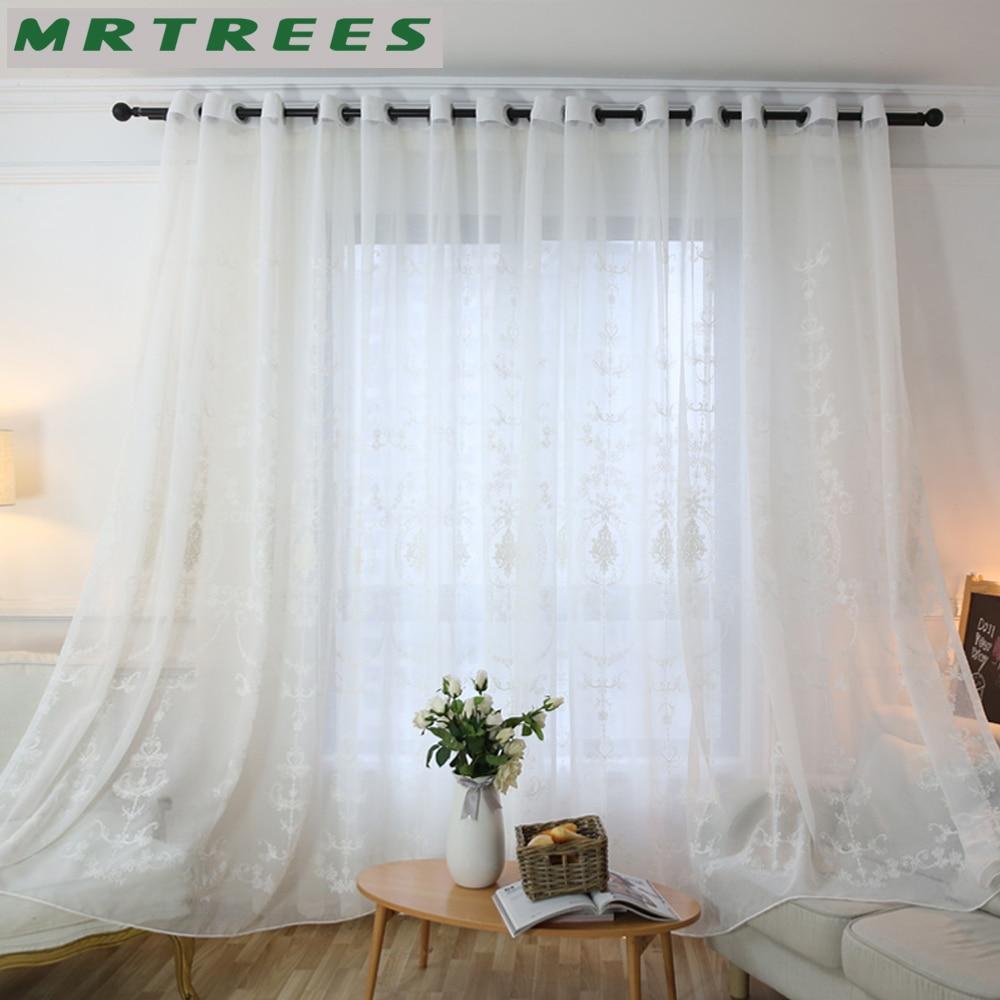 MRTREES Modern Işlemeli Sırf Perdeleri Pencere Tül Perdeleri - Ev Tekstili - Fotoğraf 3