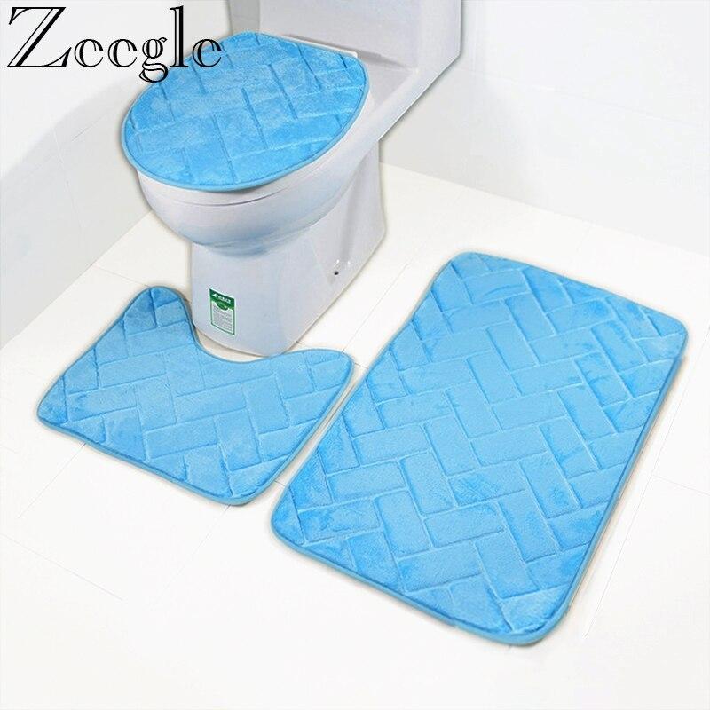 Zeegle Ванная комната коврик для ванной комплект туалет ковры фланель Нескользящие Ванная комната ковры Комплект домашний туалет крышка душе...