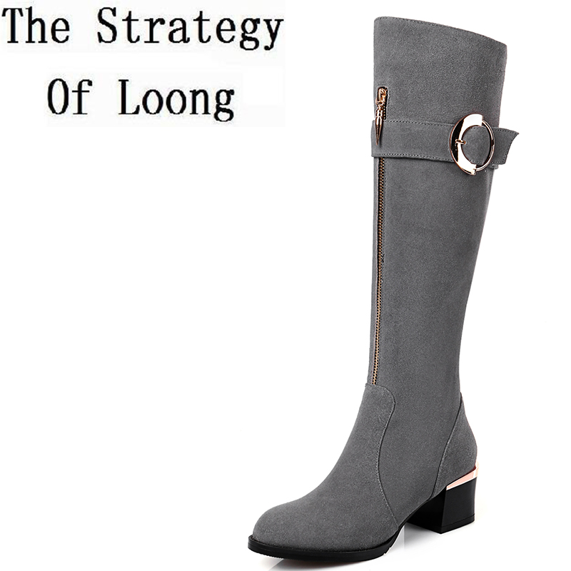 Pure Color Genuine Leather Short Plush Winter Knee High Boots Women Spring Autumn Nubuck Leather Metal Decoration Boots ZY171003