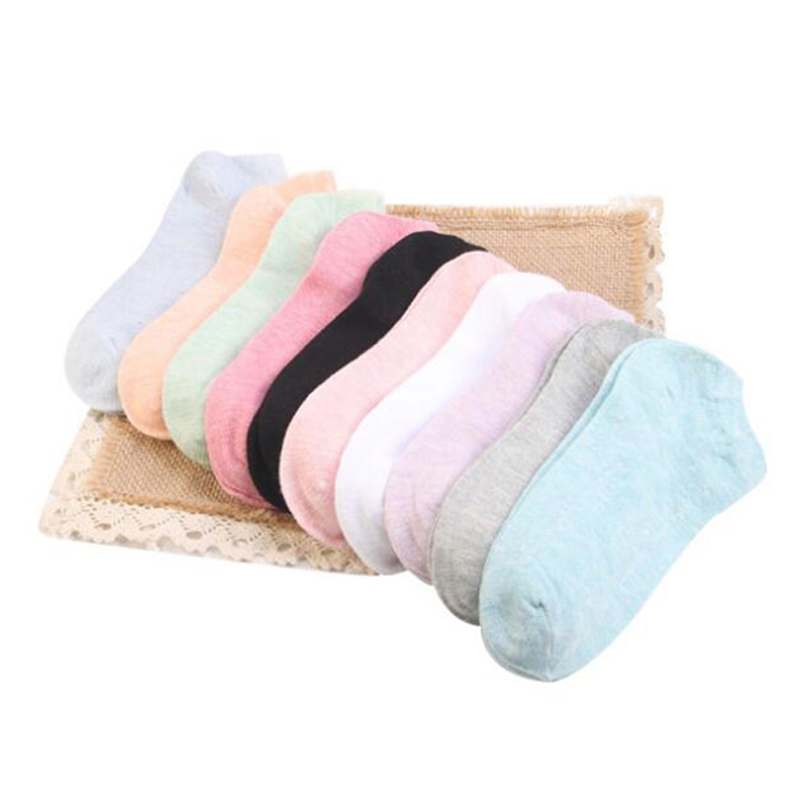 Hot Women Cotton Socks 10pcs Summer Casual Candy Colors Elastic Stretch  for Ladies Girls Black Pink White Blue Meias QMH