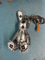 Sliver Bunny Keychain Mink Fur Real Leather Punk Keyring Luxury Bag Accessories Handbag Charm Packback Charm