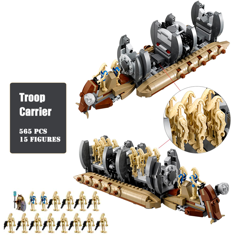 Star Wars 565pcs Building Blocks Bricks 15 Toy Figures Droid Troop Carrier Model Assembly Kids Toys Compatible lepin building blocks agent uma thurman peeta dc marvel super hero star wars action bricks dolls kids diy toys hobbies kl069 figures