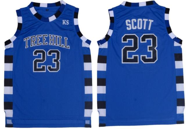 Nathan Scott 23 One Tree Hill Ravens Basketball Jersey Blue-in ... dc9229758