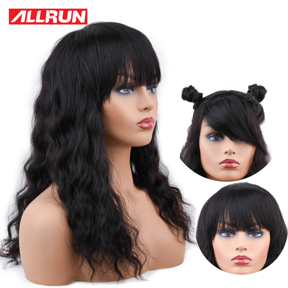 ALLRUN Brazilian Ocean Wave Human Hair Wigs With Adjustable Bangs non remy Lace Human Hair Wigs