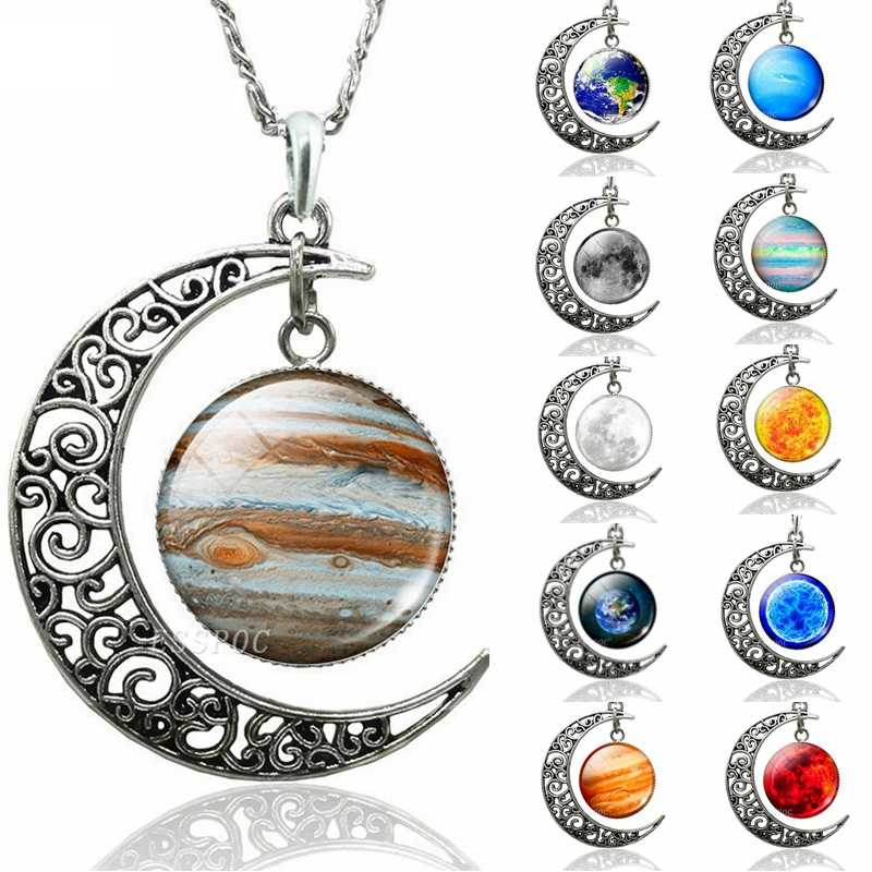 Earth Jupiter Sun Stars Planet Hollow Crescent Moon Necklace Glass Cabochon Jewelry Handmade Pendant DIY Accessories Women Gift