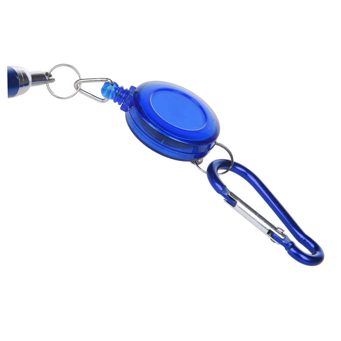 Blue Retractable Badge Reel Pen Belt Clip & Carabiner / Secure Metal Clip for Easy Fasten to Pocket, Belt, Waistband or Lanyard