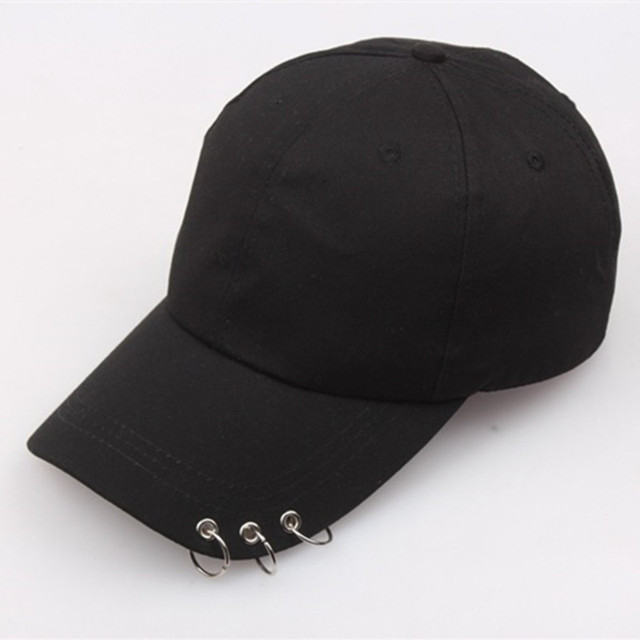 1PC Fashion Simple Black Baseball Cap with Rings Spring Summer For Men Women Hip Hop Sports Sunshade Cotton Duck Tongue Hat H18