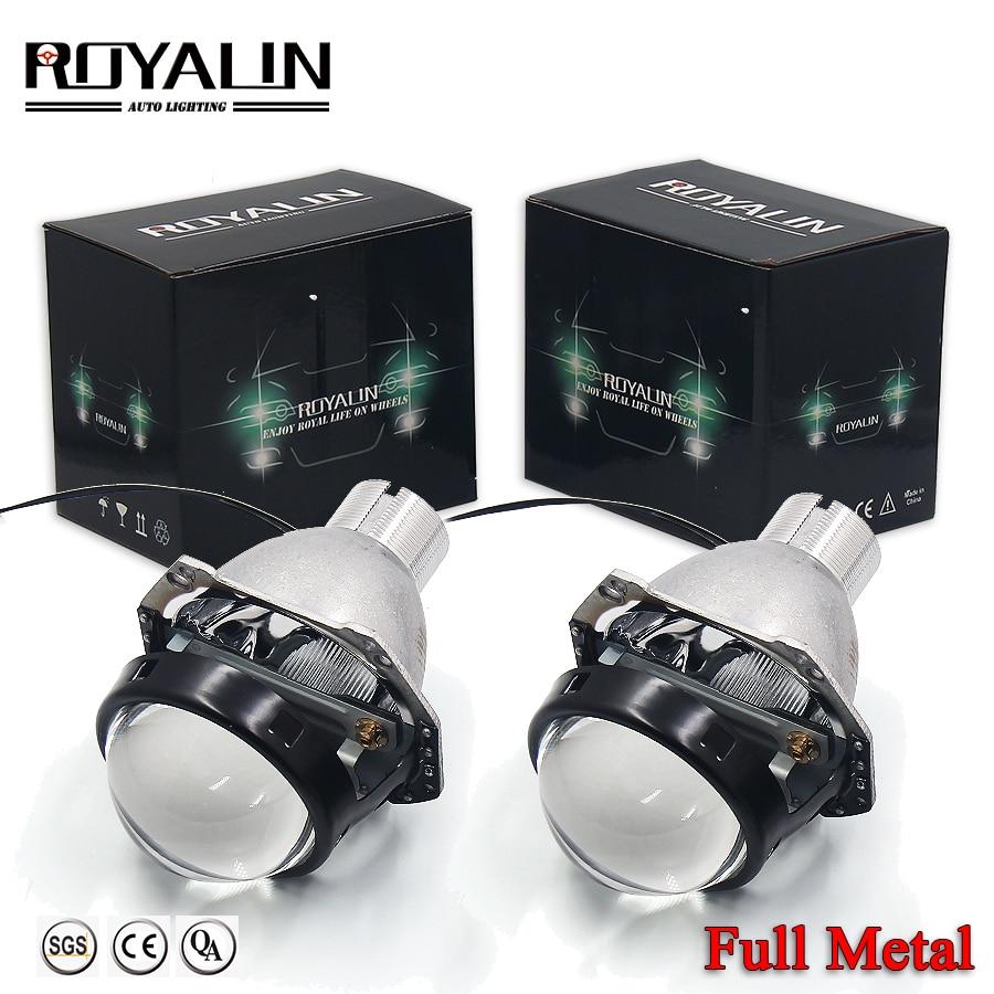 ROYALIN voiture style bi-xénon H4 phares projecteur lentille Mini D2S 3.0 pour Hella 3R G5 mat lentille avec masque utiliser D2S D2H HID ampoules