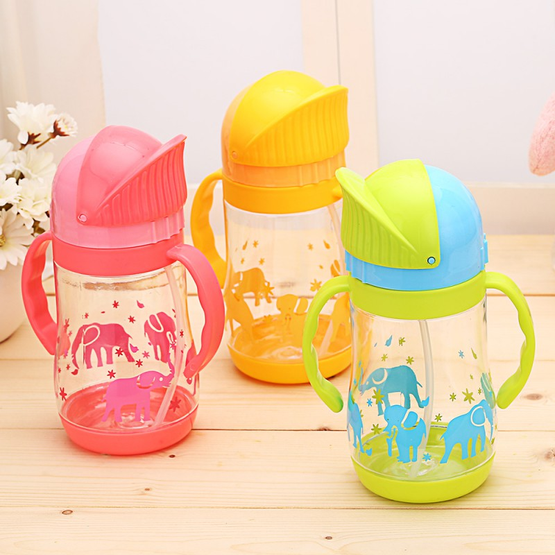 420ml Baby Feeding Bottle Children Learn Drinking Water Bottle Cartoon Newborn Cup Straw Handle Baby Training Cup