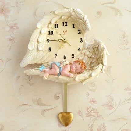 Creative Angel horloge murale Art horloge amour muet Pow patrouille montre mécanisme décor à la maison décoration Relogio Parede cadeaux WZH432