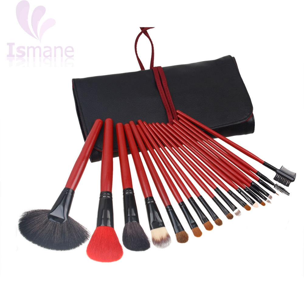 ISMINE 18Pcs Makeup Brush Set Professional Red Wood Handle Goat Wool Hair Cosmetic Kit Foundation Makeup Brushes Tool with Bag makeup brushes tool set 29pcs professional makeup tools accessories goat hair cosmetic with black leather cosmetic case