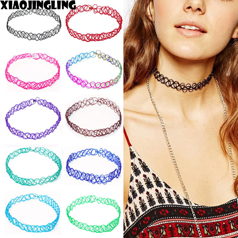 XIAOJINGLING Mix 9 Colors 9 pcs/pack Tattoo Rainbow Chokers Necklace Vintage Stretch Henna Gothic Punk Elastic Womens Jewelry