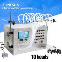 ZONESUN 10 Head Nozzle Liquid Perfume Water Juice Essential Oil Electric Digital Control Pump Liquid Filling