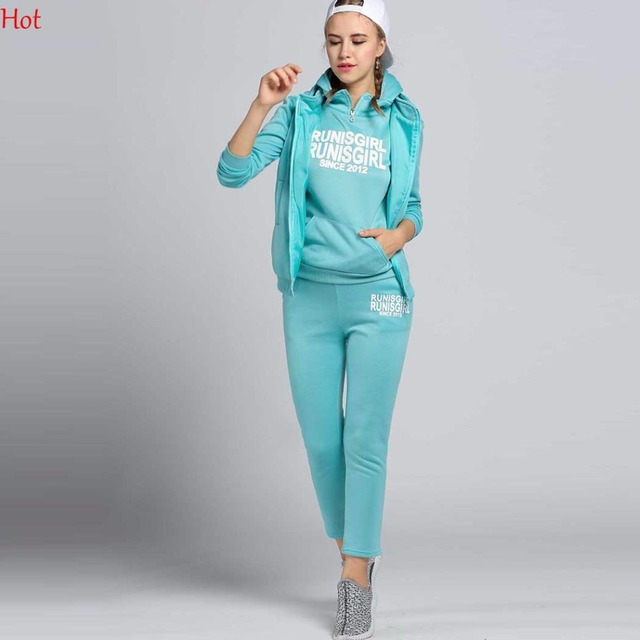 Korea New Women Outfits Autumn Hoodies Suit Thickening Leisure SweatPant Coat + Hoodie +Pant 3pcs Sets Sweatshirt Clothing18338