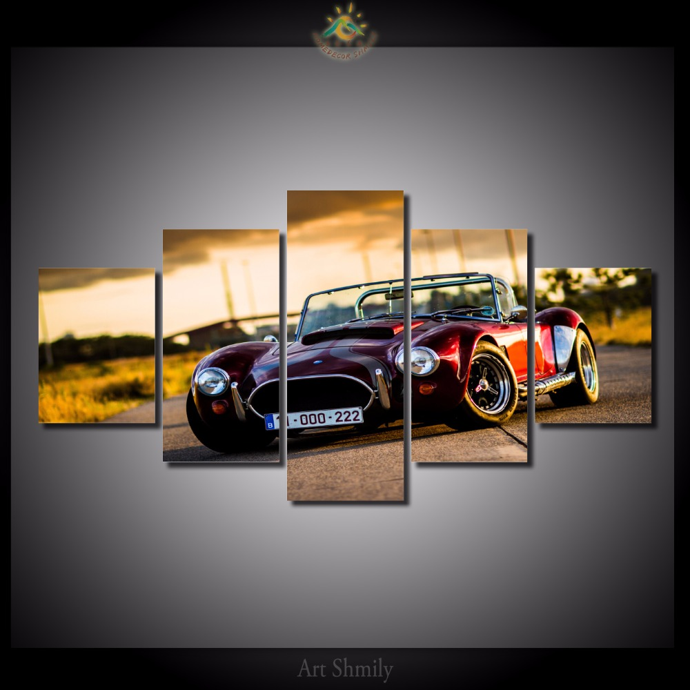 5 piecesset car wall art paintings picture print on canvas for home decoration wall