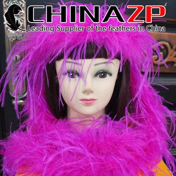 CHINAZP Wholesale 10yards/lot 35gram/piece Top Quality Dyed Hot Pink Ostrich Feather Scarfs