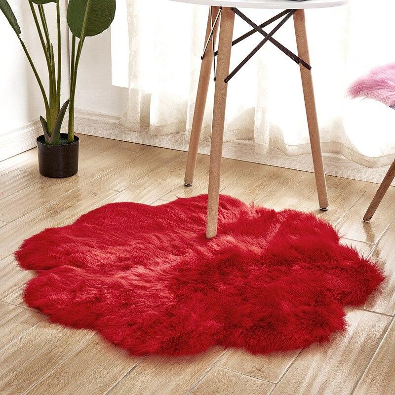 90 cm doux artificiel en peau de mouton tapis canapé chambre pétale forme longue peluche tapis laine artificielle chaud poilu tapis de sol lavable
