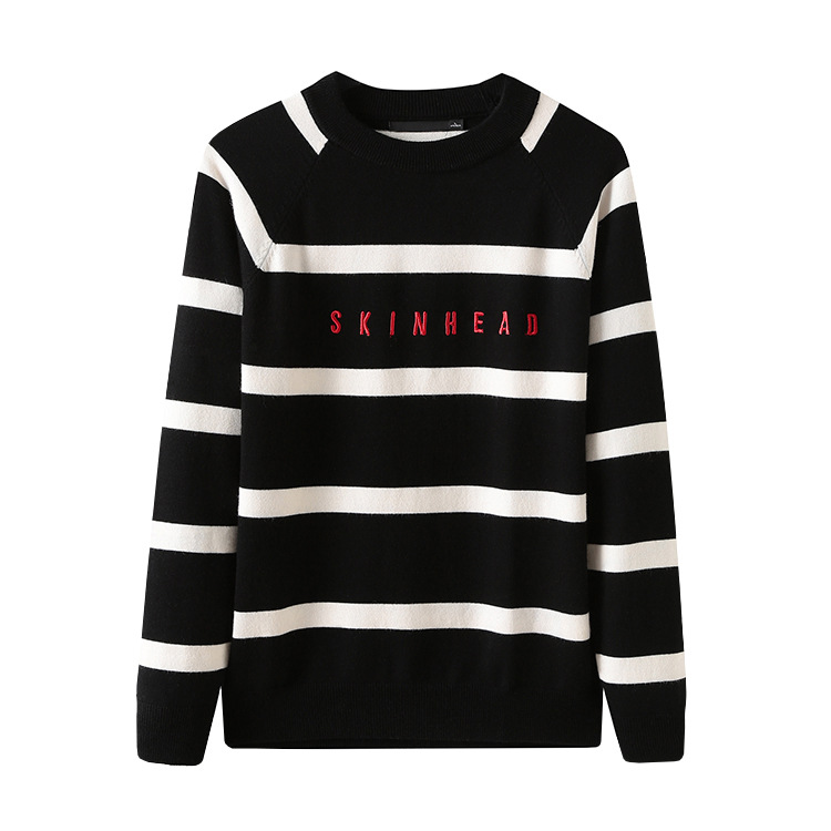 New 2019 Man Winter Embroidered Black Skinhead Striped Knit Casual Sweaters Pullovers Asian Plug Size High Quality Drake #K25