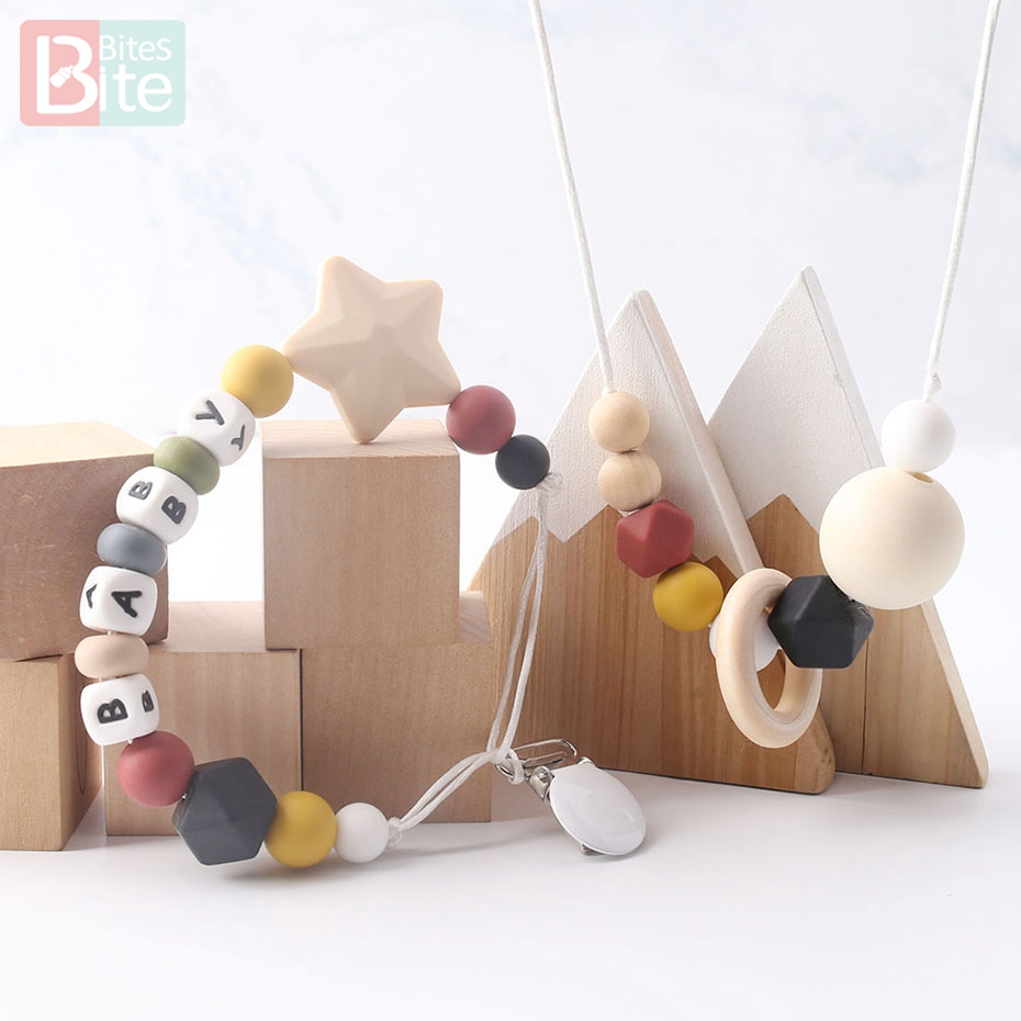 Bite Bites 1PC Silicone Baby Teething Pacifier Clips Chain Customize Baby Name Nursing Necklace Food Grade Silicone Baby Teether