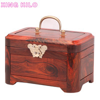 Full single board red rosewood mahogany jewelry box solid wood hand jewelry storage box Chinese retro jewelry box with lock