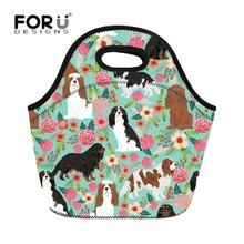 FORUDESIGNS Cavalier King Charles Spaniel Printing Lunch Bags for Women Kids Picnic Tote School Food Bag Bolsa Termica Lancheira