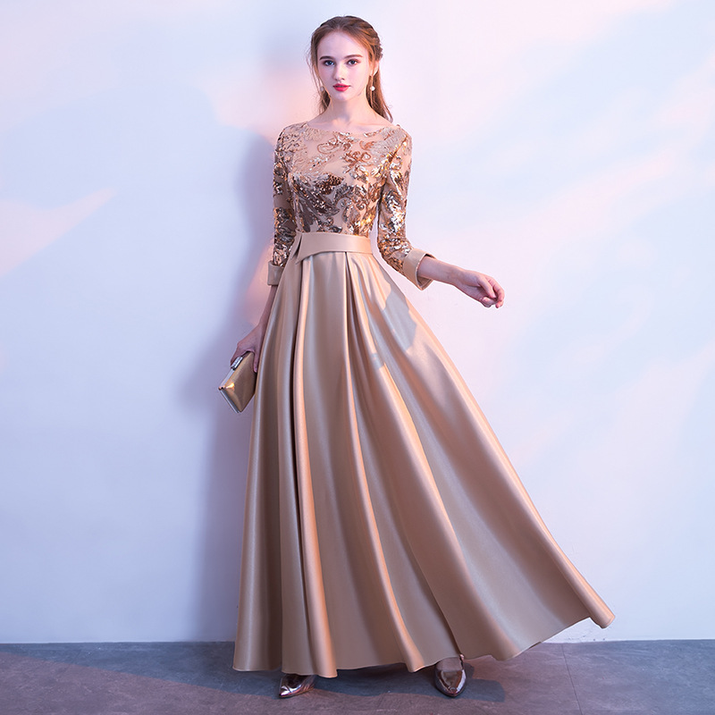 Elegant Long Formal Mother of the bride Dresses Evening Sequin Appliques 3/4 Sleeves Wedding Prom Party Gown Pageant Dress