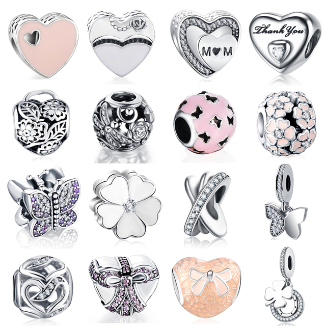 925 Sterling Silver Multi Style Love Heart Flower Butterflies Charms Fit Original Pandora Bracelets Jewelry for Mom Mother's Day