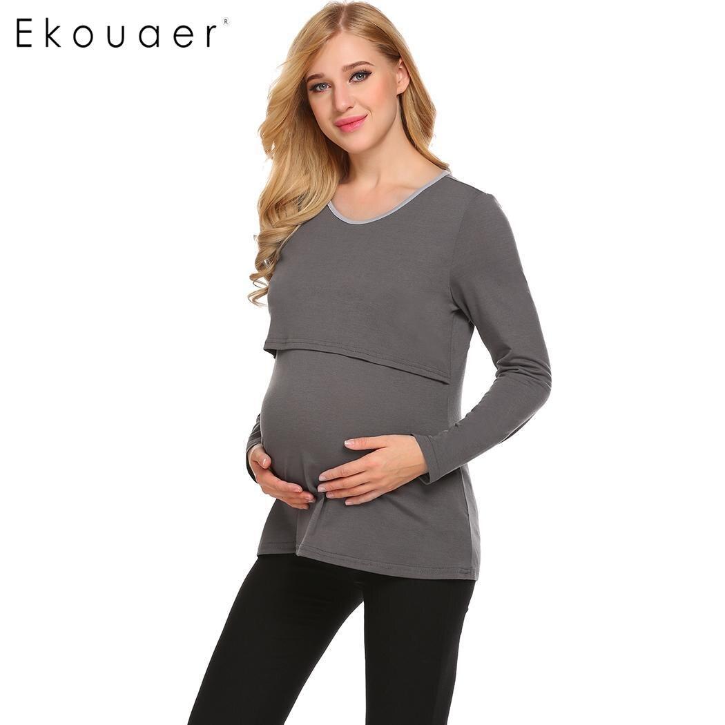 82d662856e993 Ekouaer Women Maternity Nursing Sleepwear T-Shirts O-Neck Long Sleeve  Pregnant Nursing Breastfeeding Nightwear Tops with Scarf