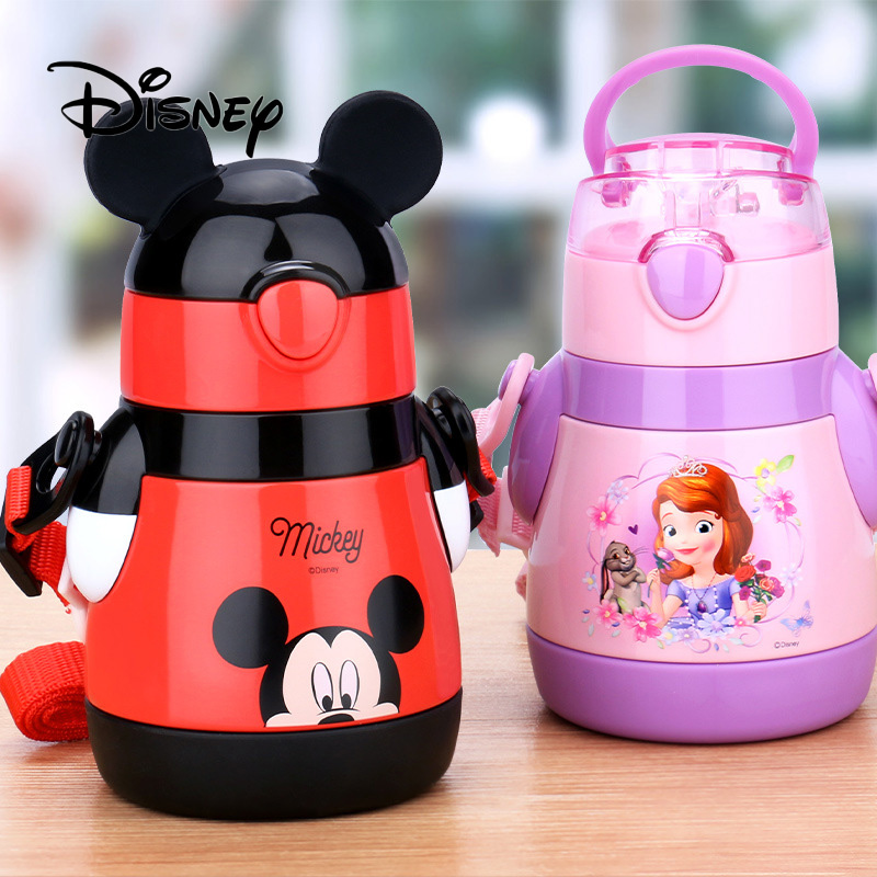 Genuine Disney Children's Straw Insulation Cup Stainless Steel Leakproof Mickey Mouse Minnie Portable Baby Learning Drinking Cup