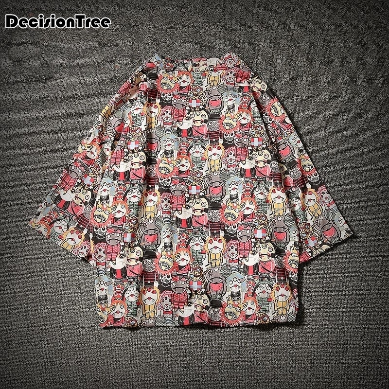 2019 Men Cotton Linen China Style Crane Printed Coat Male Kimono Cardigan Overcoat Open Stitch Coat Male Windbreaker