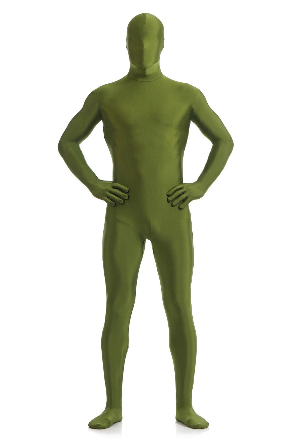 Dark Green Unicolor Zentai Suit Full Body Suits Lycra -3807