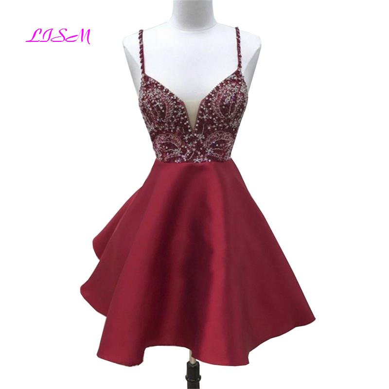 LISM Sexy Spaghetti Straps Empire Prom Dress Appliques Beaded Short Party Dresses Backless Above Knee Mini Bridesmaid Dresses
