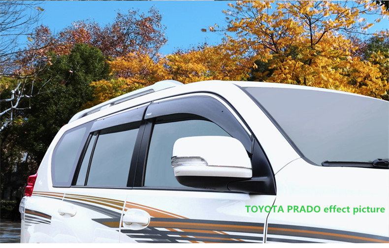FIT FOR TOYOTA PRADO SIDE WINDOW RAIN DEFLECTORS GUARD VISOR WEATHER SHIELDS DOOR SHADOWS ACRYLIC WEATHER SHIELDS