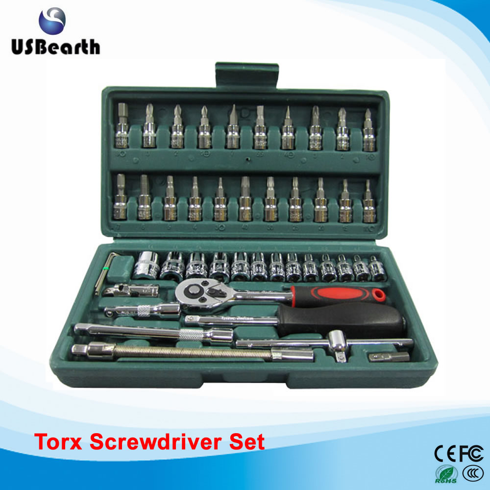 Stainless steel 46 in 1 Torx screwdriver set ratchet wrench socket wrench universal head Automotive Tools Kit xkai 14pcs 6 19mm ratchet spanner combination wrench a set of keys ratchet skate tool ratchet handle chrome vanadium