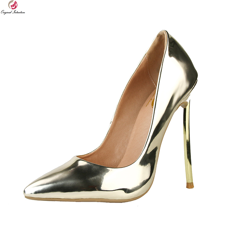 Original Intention New Fashion Women Pumps Sexy Pointed Toe Thin High Heels Popular Gold Silver Shoes Woman Plus US Size 3-10.5 bowknot pointed toe women pumps flock leather woman thin high heels wedding shoes 2017 new fashion shoes plus size 41 42