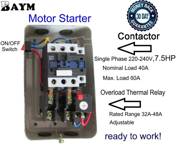 Baym Magnetic Electric Motor Starter 7 5 Hp Single Phase Control 220 240v 32 48a Qcx5 50 15kw