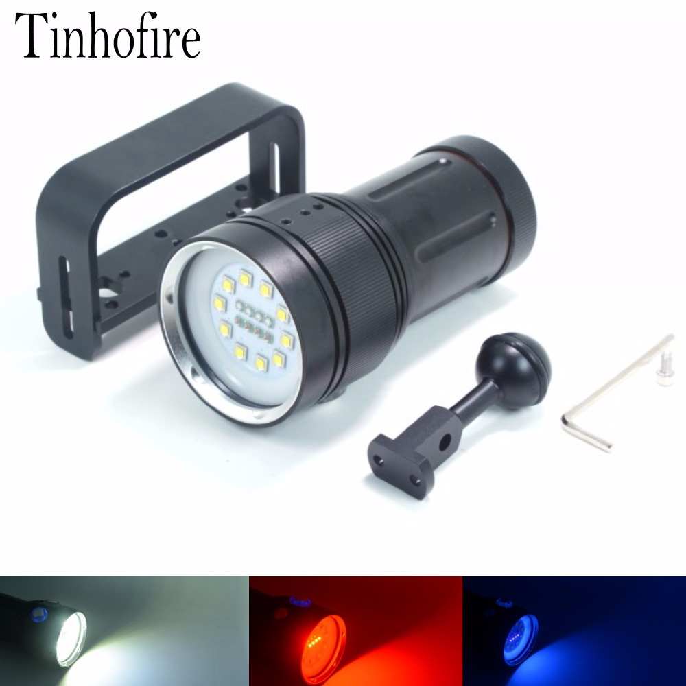 Underwater Video Light 30000 Lumens 10xL2 White Led+4x Red Led+4x UV/Blue Led Waterproof Diving LED Flashlight With Ball Mount sport car style 2 led white light flashlight keychain w sound effect red 4 x lr41