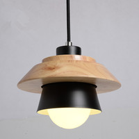 American Country Style Cement Pendant Light E27 E26 Socket Droplight 4 Colors Wood Indoor Decoration Hanging