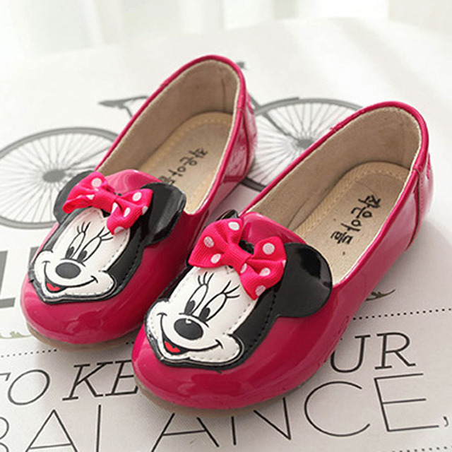 New Style Cartoon Animation Littler Girls Shoes Mouse Head Slip on Toddlers Girls Flats Shoes Bow Knot Girls First Walkers
