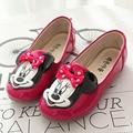 Nuevo Estilo de Dibujos Animados Animación Littler Niñas Zapatos Cabeza de Ratón Antideslizante en Niños Niñas Zapatos de Los Planos Del Arco Nudo Niñas Primeros Caminante