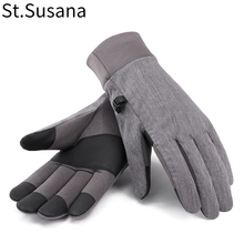 St.Susana Unisex Autumn Winter Warm Plush Lining Touch Screen Non-slip Black Gray Gloves One Size
