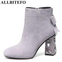 ALLBITEFO Rhinestone Heel Genuine Leather Square Toe High Heels Women Boots Square Toe High Quality Ankle