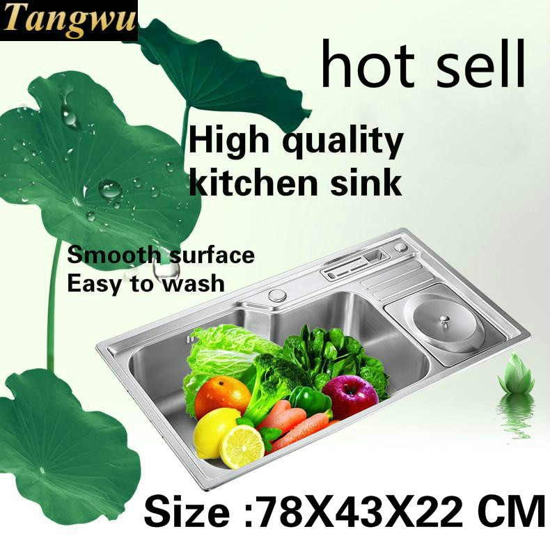 Tangwu High quality multi-functional stainless steel kitchen sink large single groove fittings is complete 78x43 x22 cmTangwu High quality multi-functional stainless steel kitchen sink large single groove fittings is complete 78x43 x22 cm