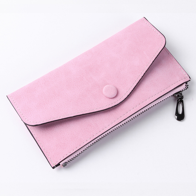 2018 Luxury Women Wallet PU Leather Long Solid Zipper Wallet Money Bag Coin Purse Female Credit Card Holder Long Lady Clutch 4