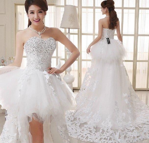 New European And American Korean Lace Wedding Dress Tutu Princess Yards Long Short Tail