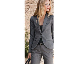 Custom Slim Gray Womens Business Suits Formal Ladies Trouser Suit Female Office Uniform Prom 2 Piece Suits Blazer Custom Made