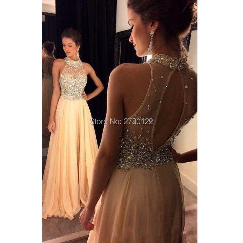 Robes de bal vestido de festa 2016 col haut perles de cristal mousseline de soie pêche transparent dos ouvert longue robe de soirée robes de soirée formelles